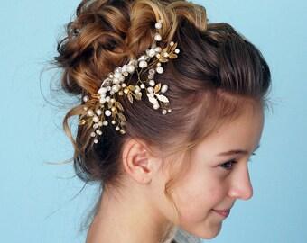 Bridal hair comb -Wedding hair comb-Crystal Hair jewelry-Wedding Hair piece-Bridal headpiece-Wedding accessories-Gold leaf  headpiece