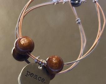 Peace Guitar String Bracelet