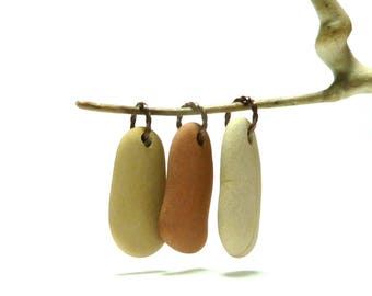 Genuine Drilled Beach Stones ROCK LOBSTER Pendants Triple Focal Beads Pebbles Riverstone Collection Long Dangles Copper Rings