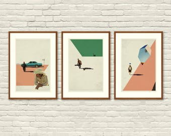 COEN BROTHERS Inspired Posters, Art Print Movie Poster Series - 12 x 18 Minimalist, Graphic, Mid Century Modern, Vintage Style, Retro Home