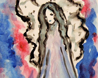 Angel Acrylic Painting on Paper, Original Painting, Blue and Red Guardian Angel, Angel Art, Spiritual Painting  Angel Art