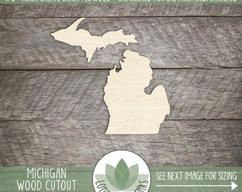 Michigan, Unfinished Wood Michigan Laser Cut Shape, DIY Craft Supply, Many Size Options, Blank Wood Shapes