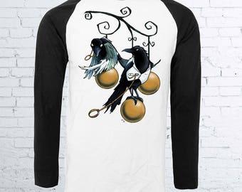 Lovebirds - Crow Baseball Shirt | Halloween Shirt Horror Shirt Horror Raglan Magpie Shirt Crow Shirt Bird Shirt Alternative Clothing