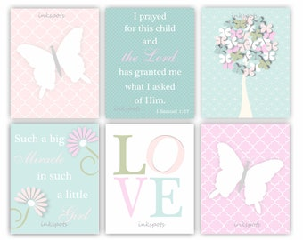 Bible Verse Butterfly Art Print Baby Girl Nursery Art Floral Print Butterfly Wall Decor Butterfly Nursery Decor Shabby Chic Wall Art BF2608