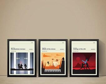 Star Wars (Episodes 1-3) Movie Posters - Set of Prints, Movie Poster, Movie Print, Film Poster, Star Wars Poster