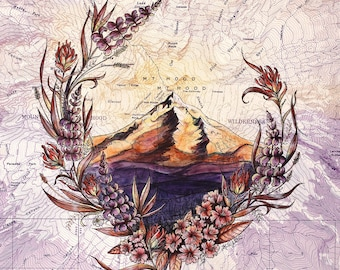 Mt Hood Wildflowers, Mount Hood painting print Mountain, Oregon mountain print, Portland wilderness art topo map art, unique wall art