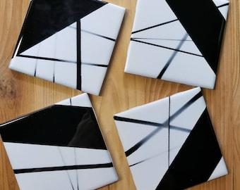 Hand Painted Coasters/Black White Ceramic Coaster Set/Black Ceramic Tile Coaster/Painted Black White Coasters/Mid-Century Modern Coaster Set