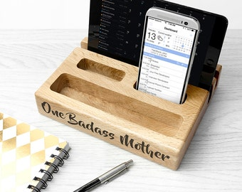 Personalised Multi Tablet and Phone Holder - Office Tidy - Recipie Holder  - Charging Station - Technology Station - FREE UK DELIVERY