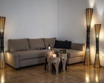 Rustic Lamp, Yoga Studio Decor, Floor Lamp, Boho Lighting, Bamboo Furniture, Living Room Lamp, Wooden Lamp, Mid Century Lamp, Gift For Home