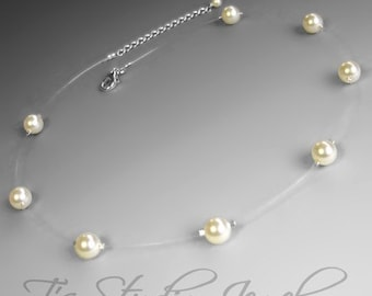 Single Strand Pearl Illusion Bridal Necklace - Ivory Pearl Bridesmaid Wedding Jewelry - CARLI