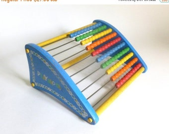 Sale - Vintage 1960's - 1970's PLAYSKOOL Abacus Wooden Bead Children's Toy - Counting Toy