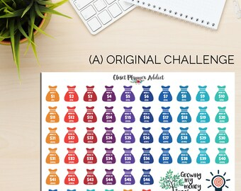 52 Week Money Challenge Planner Stickers | We also have the Reverse Version! (S-196)
