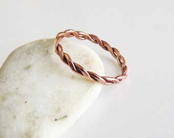 Copper Rope Ring, Twist Ring, Thin Copper Ring, Dainty Ring, Simple Stacking Ring, Stackable Rope Ring