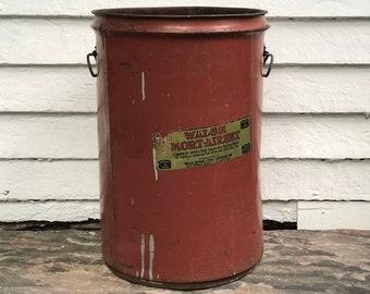 "industrial bucket ~ 20"" dark red metal bucket with double handles ~ industrial bin ~ Walsh Mort-Airset, St Louis MO ~ farmhouse storage"