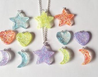 Glitter pendant necklace, Glitter necklace, Heart necklace, Moon necklace, Star necklace, Glitter necklace, Kawaii, Pastel goth, Glitter