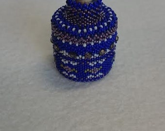 Blue Beaded Bottle - Peyote Stitched with Cork Stopper