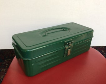 Vintage Green Metal Tool Box- Tackle Box- Art Supply-Craft Box-Organizer Box-Caddy- Small Utility Box- Industrial Decor - Patent No. 3171566