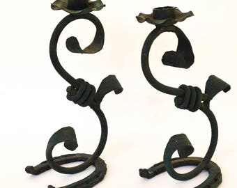 Rustic Iron Candleholders, Folk Art Western Style Candle Holders, Horseshoes, Western, Cowboy Art