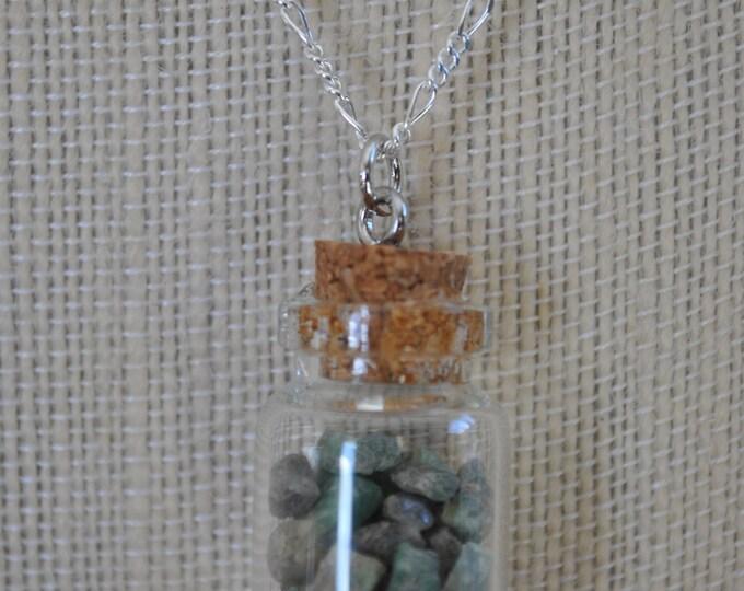 Genuine Emerald Jar Necklace on Sterling Silver chain, raw emerald, boho, minimalist