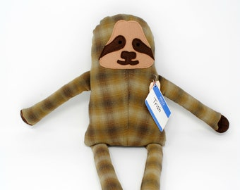 Sloth-Plaid Sloth-Sloth Stuffed Animal-Sloth Plush-Sloth Softie-Sloth Toy-UpCycled-Repurposed-Hand Sewn Toy-Salvaged-Lovable Sloth-Trish
