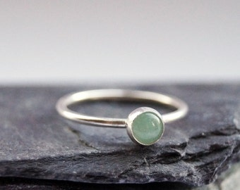 Aventurine Gemstone Sterling Silver Ring ~ statement ring, stacking ring, gemstone, unique, beaded, birthstone, solitaire ring