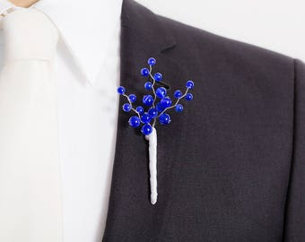 Limited Edition Roayl Blue Boutonniere - Cat's Eye Royal Blue - Mens Boutonniere