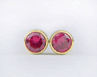 Ruby Stud Earrings   READY TO SHIP   gift for her   4mm Bezel Set Ruby Earrings   Sustainable jewelry   lab grown Chatham stones