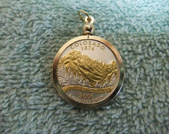 Coin Bezel Pendant Colorado Statehood Quarter Jewelry - Gold and Silver Necklace Pendant