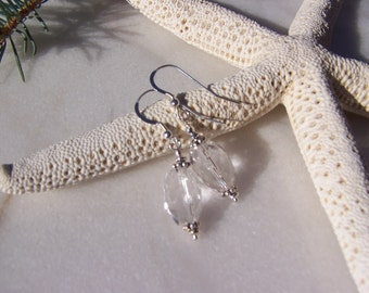 Rock Crystal Quartz Earrings, Sterling Silver Earrings, Wedding  Crystal Earrings, Faceted Oval Quartz Earrings, April Birthstone Earrings