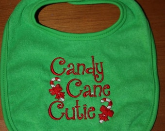 Candy Cane Cutie embroidered Christmas bib