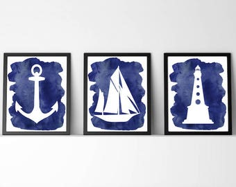 Nautical decor,sail boat,sailboat,lighthouse,ocean,sea,Bathroom,Nursery,baby boy,navy blue,set of 3,digital print,chic,Beach cabin,gift,art