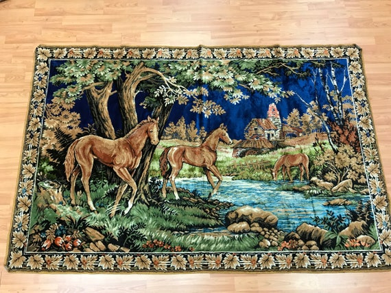 "4'1"" x 6'2"" Turkish Tapestry - Hanging Rug - 1980s - Hand Made - 100% Wool"