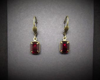 Victorian Earrings Garnet Antiqued Brass Lever Back Art Deco FREE SHIPPING USA