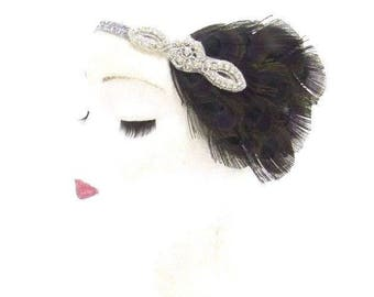 Black Silver Feather Headband 1920s Flapper Headdress Headpiece Vintage 2784