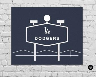 "Dodger Stadium Print - 8"" x 10"" - Fan Art - Los Angeles Dodgers   Foil Sports Print   Los Angeles Art   Dodgers   Dodger Stadium   LA Decor"