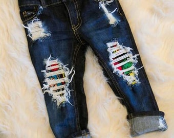 Super Hero Skinny's! Boys/toddler/baby/ hand distressed jeans/sizes 0-3M-14 kids)