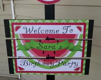 Watermelon Birthday or Picnic Yard Sign
