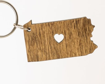 Pennsylvania Wooden Keychain - PA State Keychain - Wooden Pennsylvania Carved Key Ring - Wooden PA Charm - State of Pennsylvania - PA