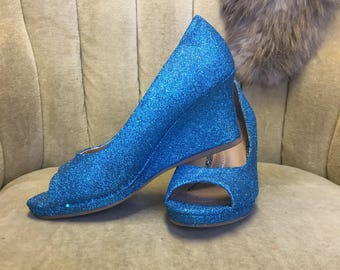 Custom made to order aqua blue glitter high heel wedges. Woman's US sizes 5-11