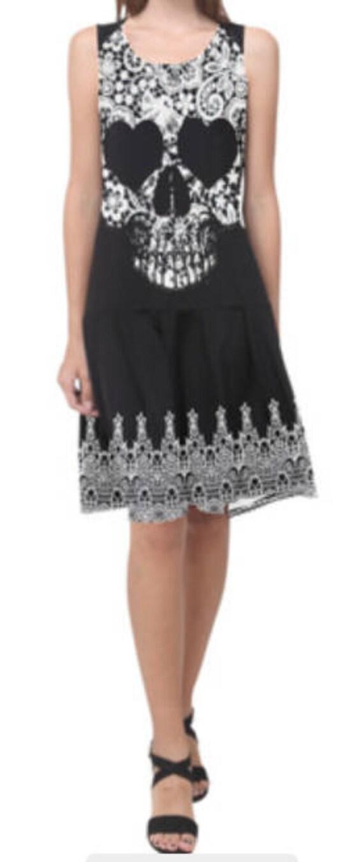 Lace Skull Sleeveless Splicing Shift Dress
