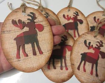 6 LARGE Buffalo Plaid and Wood Moose Paper ChristmasTags-Rustic Christmas Moose Tags-Lumberjack Party Tags-Christmas Tags