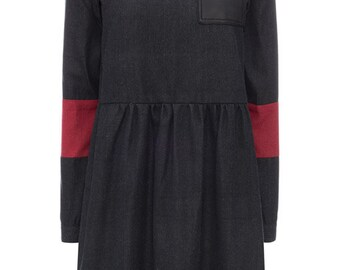 SALE smock black denim dress