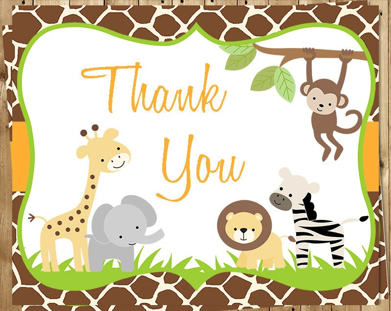 Relatively Jungle Baby Shower Thank You Cards Safari Gender Neutral VO25