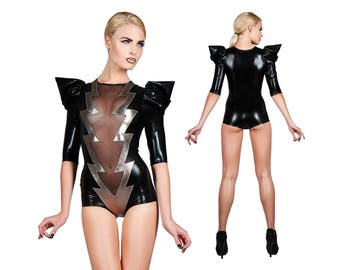Blitz-Bolzen-Body, Sexy Body, Festival Playsuit, EDC, David Bowie, Lady Gaga, Tanz Kostüm, Bühne tragen, Glam-Rock, LENA QUIST