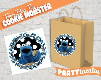 Sesame Street Cookie Monster Favor Tag Sticker