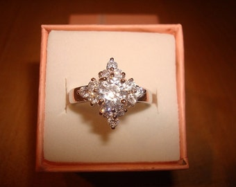 Diamond Cut White Sapphire 925 Sterling Silver Engagement Ring Size 7.5