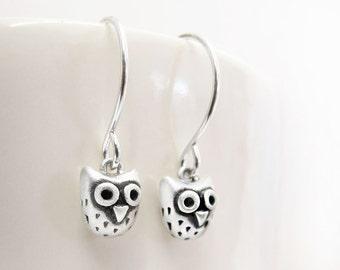 Very tiny owl earrings, sterling silver owl jewelry dangle drop woodland