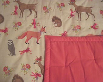 Baby Blanket with deer, foxes, owls and squirrels with a soft rose backing