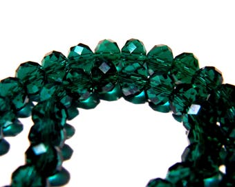 """30 beads 8 mm x 6 mm glass """"Austrian Crystal"""" - green faceted - F170 crystal glass bead"""