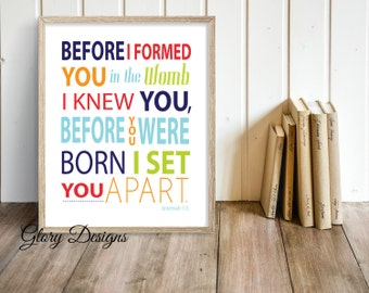 Printable, Bible Verse, Scripture art, Before you were born I knew you,  Wall Decor, Jeremiah 1:5. Digital Printable File 300 dpi